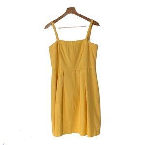 Loft yellow lined dress sz6 cotton